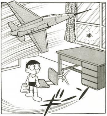 ミニ飛行機に乗ってハエを追いかけるドラえもん