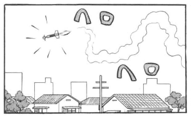 ヘロヘロ飛ぶミサイル